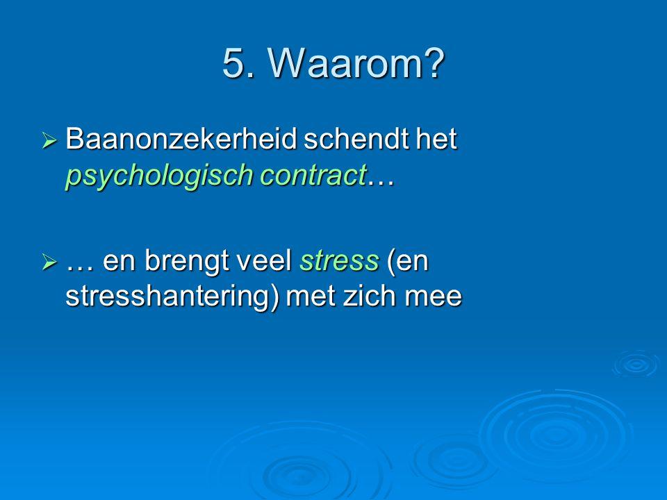 5. Waarom?  Baanonzekerheid schendt het psychologisch contract…  … en brengt veel stress (en stresshantering) met zich mee
