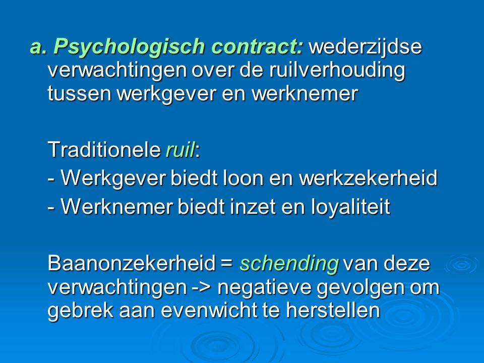 a. Psychologisch contract: wederzijdse verwachtingen over de ruilverhouding tussen werkgever en werknemer Traditionele ruil: - Werkgever biedt loon en