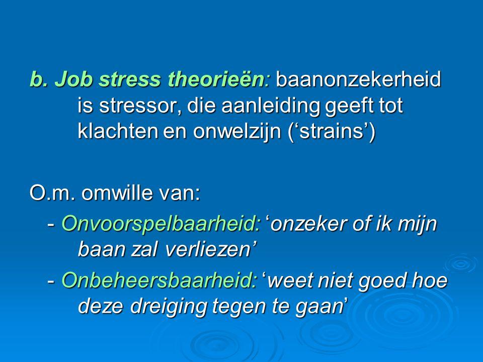 b. Job stress theorieën: baanonzekerheid is stressor, die aanleiding geeft tot klachten en onwelzijn ('strains') O.m. omwille van: - Onvoorspelbaarhei