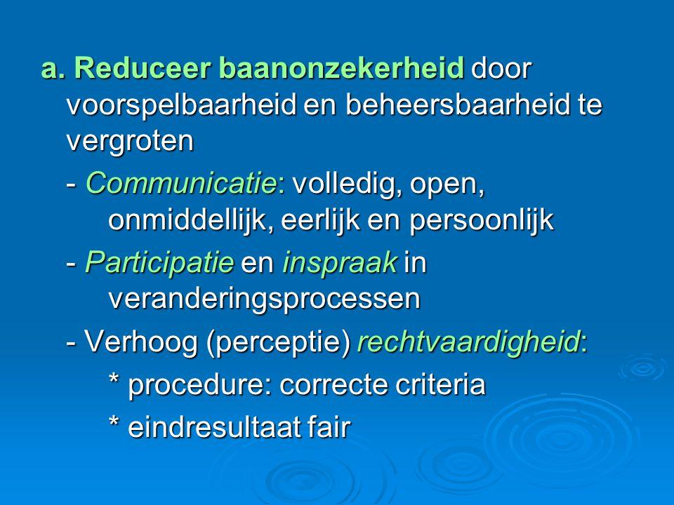 a. Reduceer baanonzekerheid door voorspelbaarheid en beheersbaarheid te vergroten - Communicatie: volledig, open, onmiddellijk, eerlijk en persoonlijk