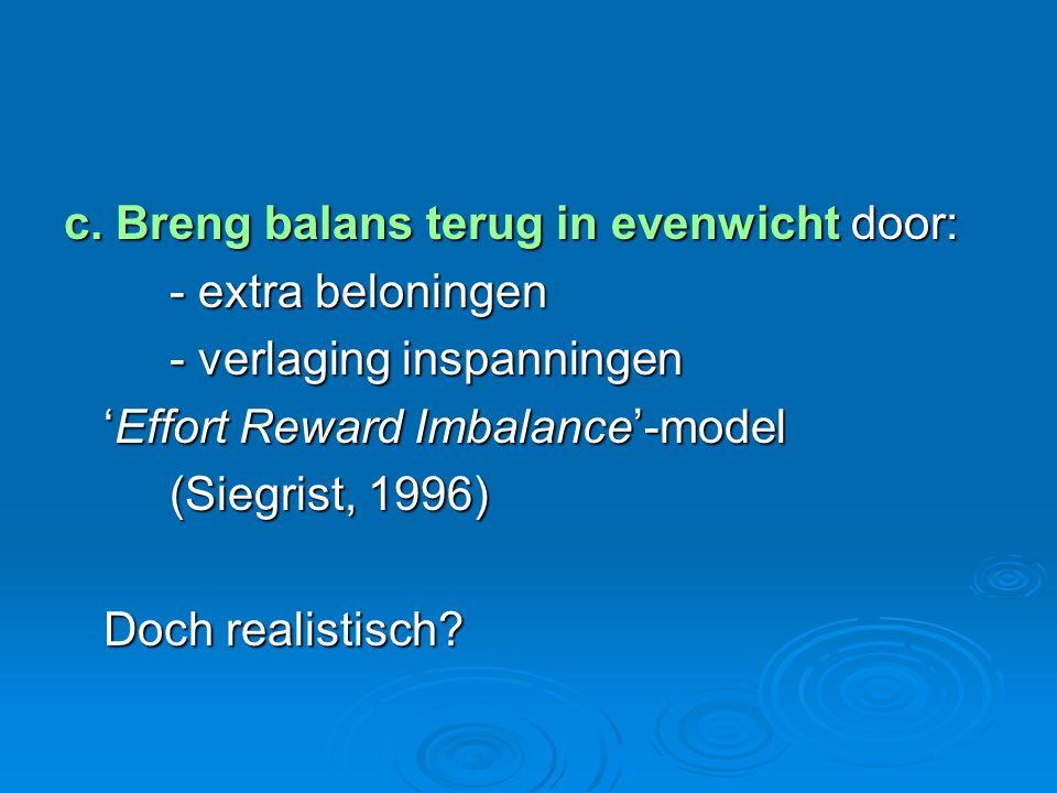 c. Breng balans terug in evenwicht door: - extra beloningen - verlaging inspanningen 'Effort Reward Imbalance'-model (Siegrist, 1996) Doch realistisch