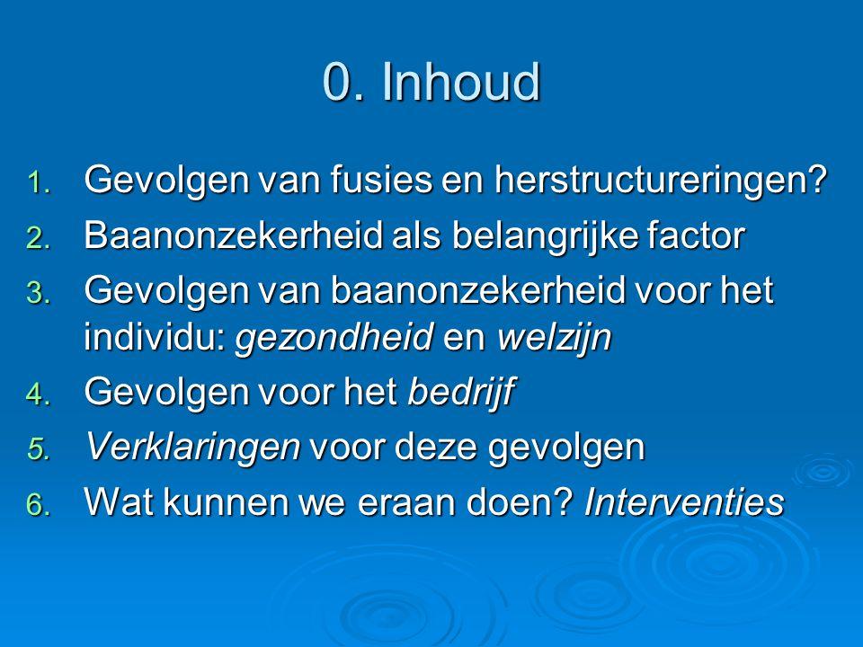 0. Inhoud 1. Gevolgen van fusies en herstructureringen? 2. Baanonzekerheid als belangrijke factor 3. Gevolgen van baanonzekerheid voor het individu: g