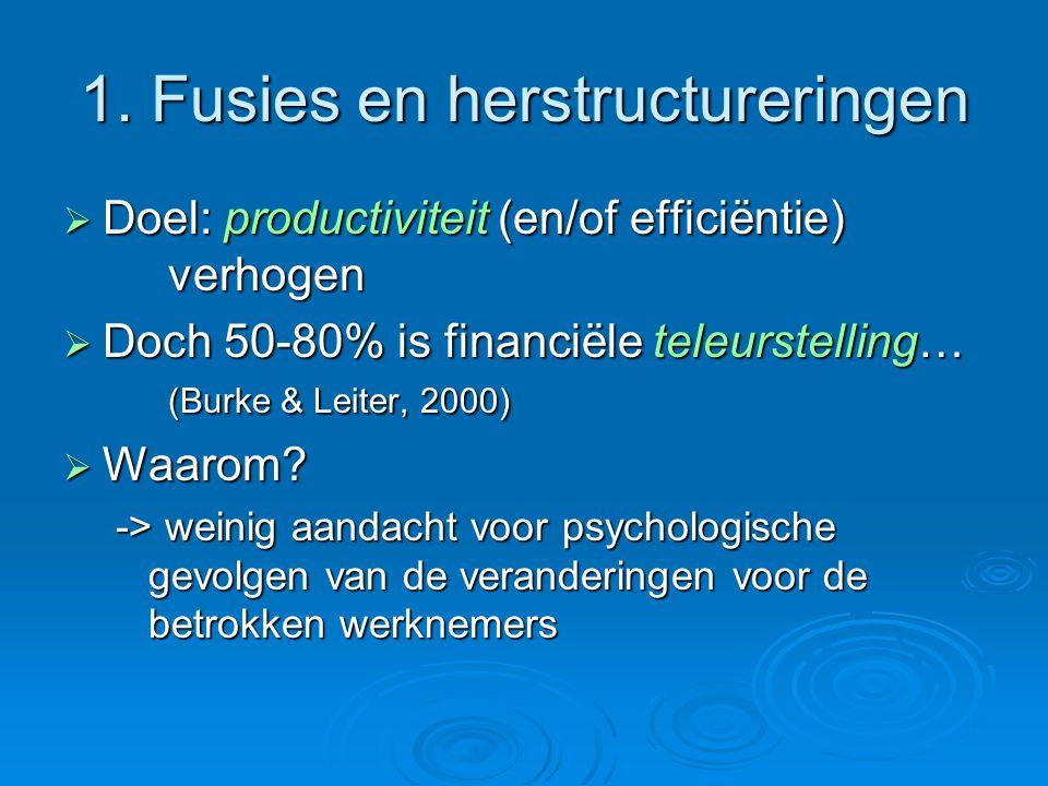 1. Fusies en herstructureringen  Doel: productiviteit (en/of efficiëntie) verhogen  Doch 50-80% is financiële teleurstelling… (Burke & Leiter, 2000)