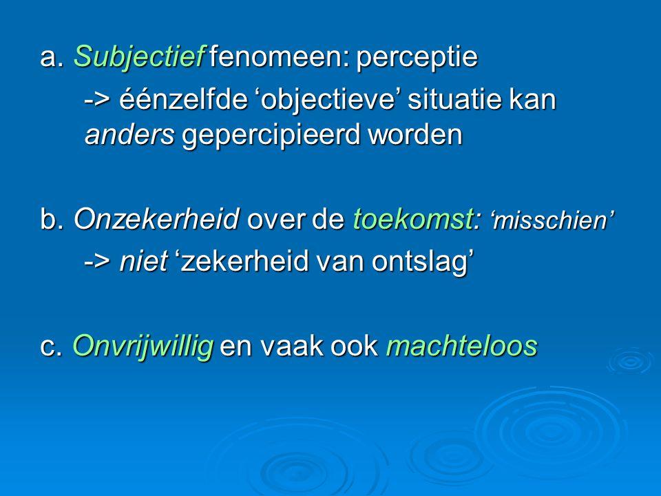 a. Subjectief fenomeen: perceptie -> éénzelfde 'objectieve' situatie kan anders gepercipieerd worden b. Onzekerheid over de toekomst: 'misschien' -> n