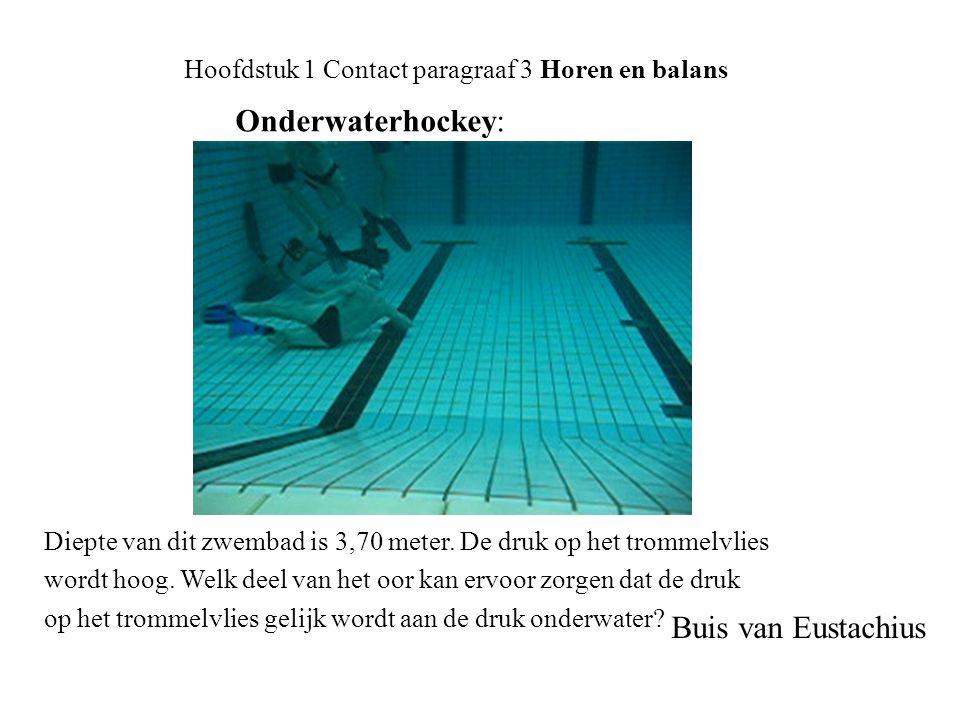 Onderwaterhockey: Hoofdstuk 1 Contact paragraaf 3 Horen en balans Buis van Eustachius Diepte van dit zwembad is 3,70 meter. De druk op het trommelvlie