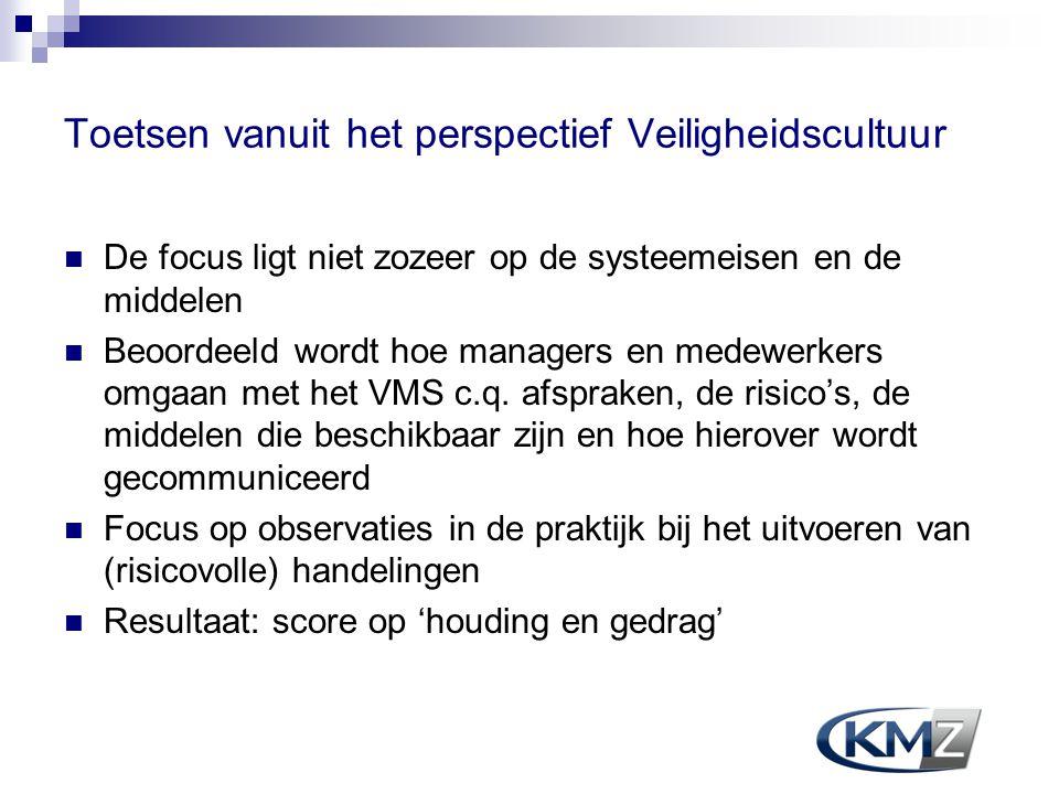 Toetsen vanuit het perspectief Veiligheidscultuur  De focus ligt niet zozeer op de systeemeisen en de middelen  Beoordeeld wordt hoe managers en med