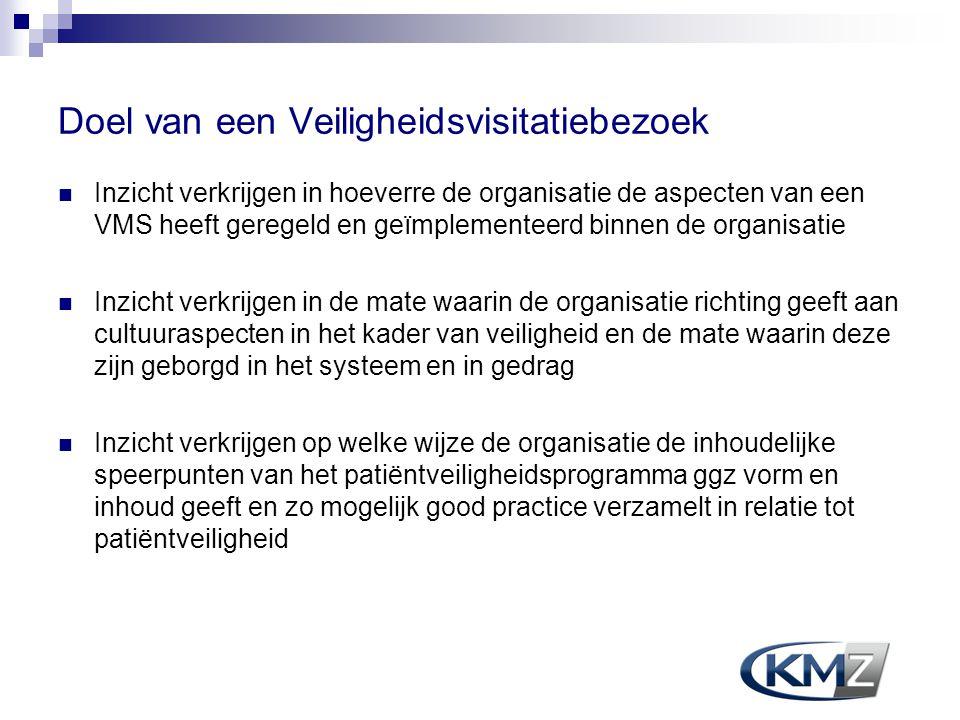 Doel van een Veiligheidsvisitatiebezoek  Inzicht verkrijgen in hoeverre de organisatie de aspecten van een VMS heeft geregeld en geïmplementeerd binn