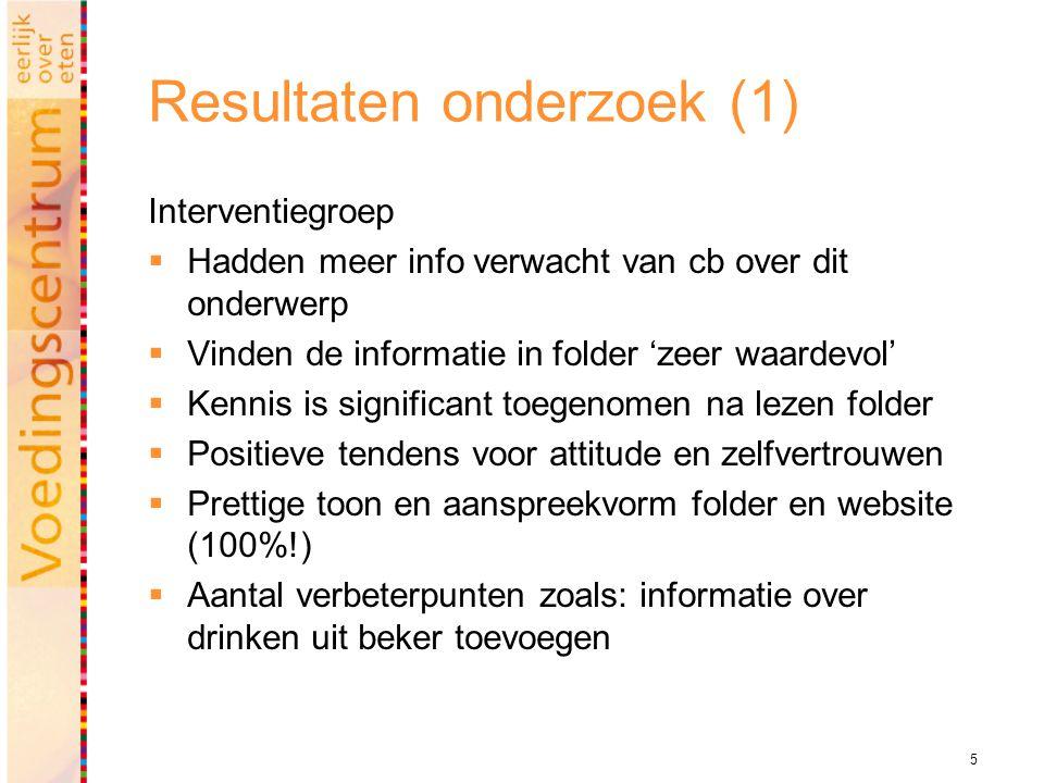 5 Resultaten onderzoek (1) Interventiegroep  Hadden meer info verwacht van cb over dit onderwerp  Vinden de informatie in folder 'zeer waardevol' 