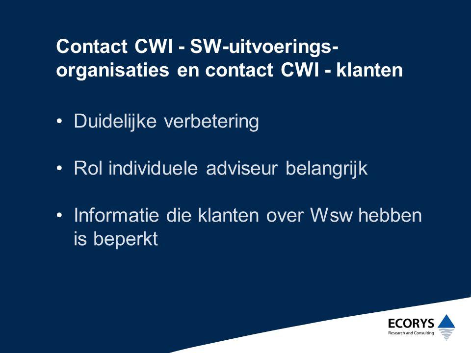Contact CWI - SW-uitvoerings- organisaties en contact CWI - klanten •Duidelijke verbetering •Rol individuele adviseur belangrijk •Informatie die klanten over Wsw hebben is beperkt