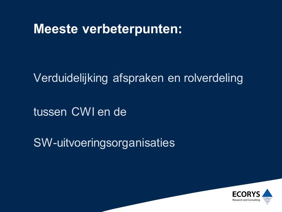 Meeste verbeterpunten: Verduidelijking afspraken en rolverdeling tussen CWI en de SW-uitvoeringsorganisaties