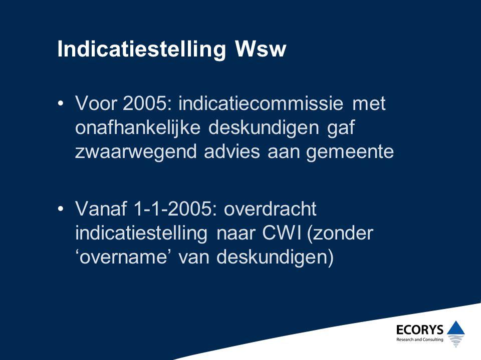 Doelen indicatiestelling Wsw door CWI •Onafhankelijke beoordeling •Uniforme uitvoering •Sluitende overdracht (ondergrens en bovengrens)