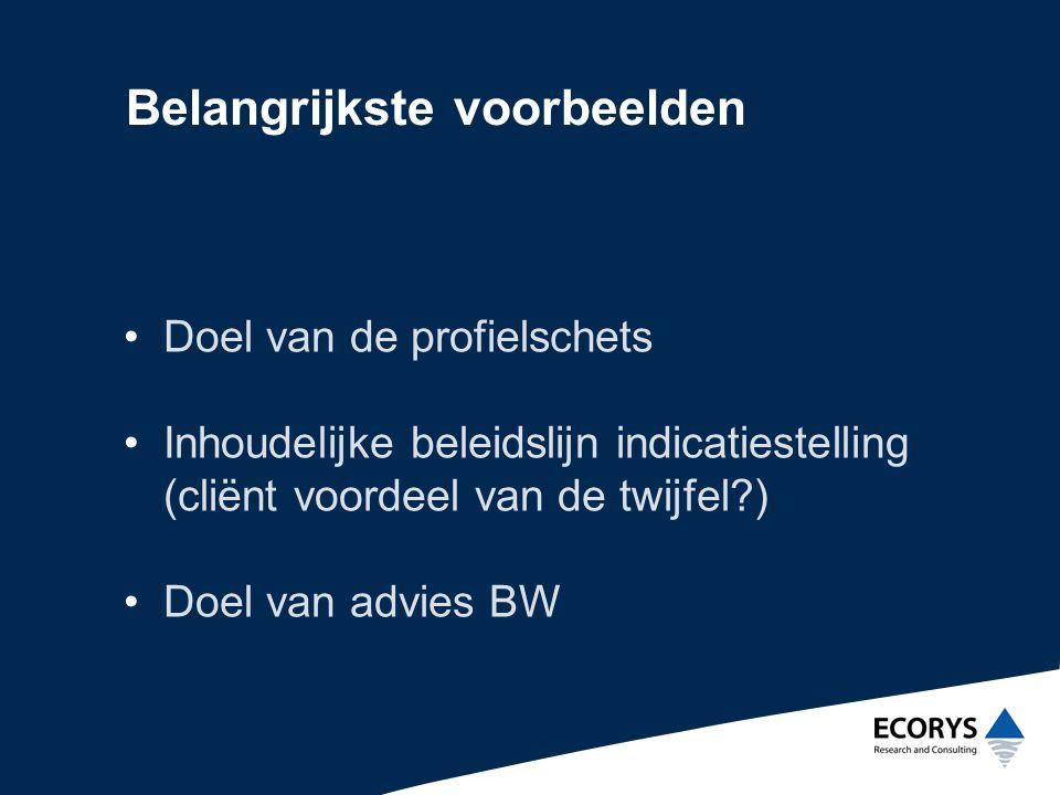 Belangrijkste voorbeelden •Doel van de profielschets •Inhoudelijke beleidslijn indicatiestelling (cliënt voordeel van de twijfel?) •Doel van advies BW