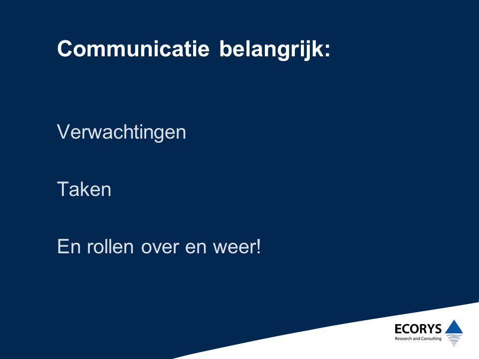 Communicatie belangrijk: Verwachtingen Taken En rollen over en weer!