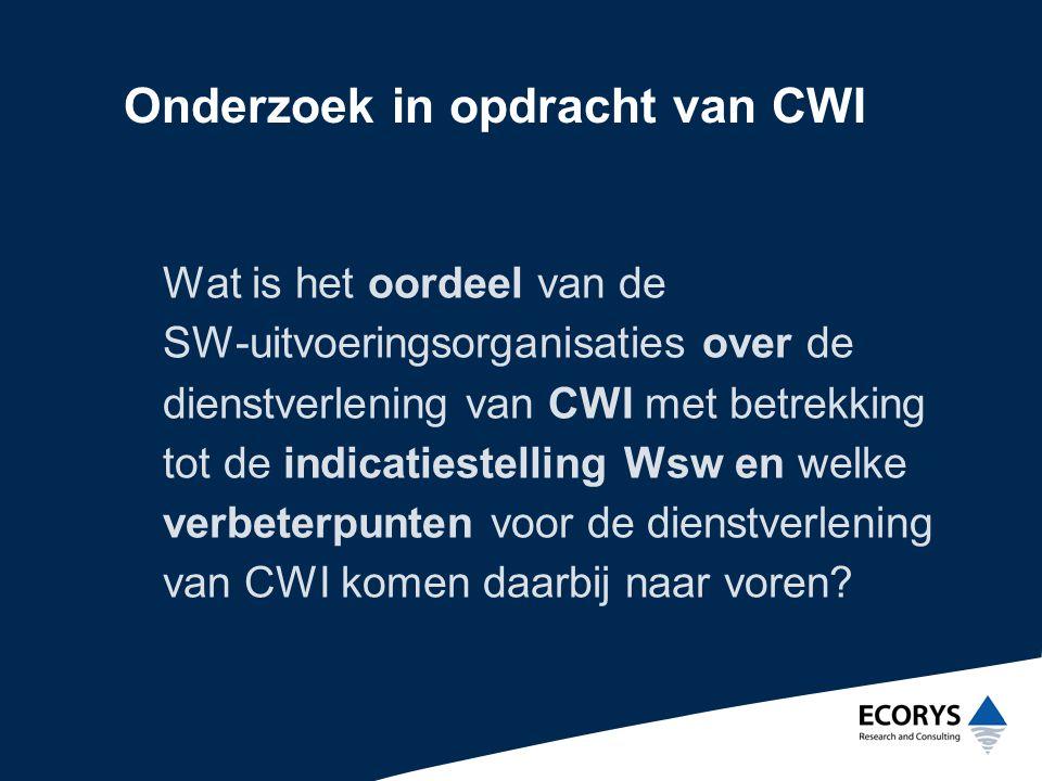 Onderzoek in opdracht van CWI Wat is het oordeel van de SW-uitvoeringsorganisaties over de dienstverlening van CWI met betrekking tot de indicatiestelling Wsw en welke verbeterpunten voor de dienstverlening van CWI komen daarbij naar voren?