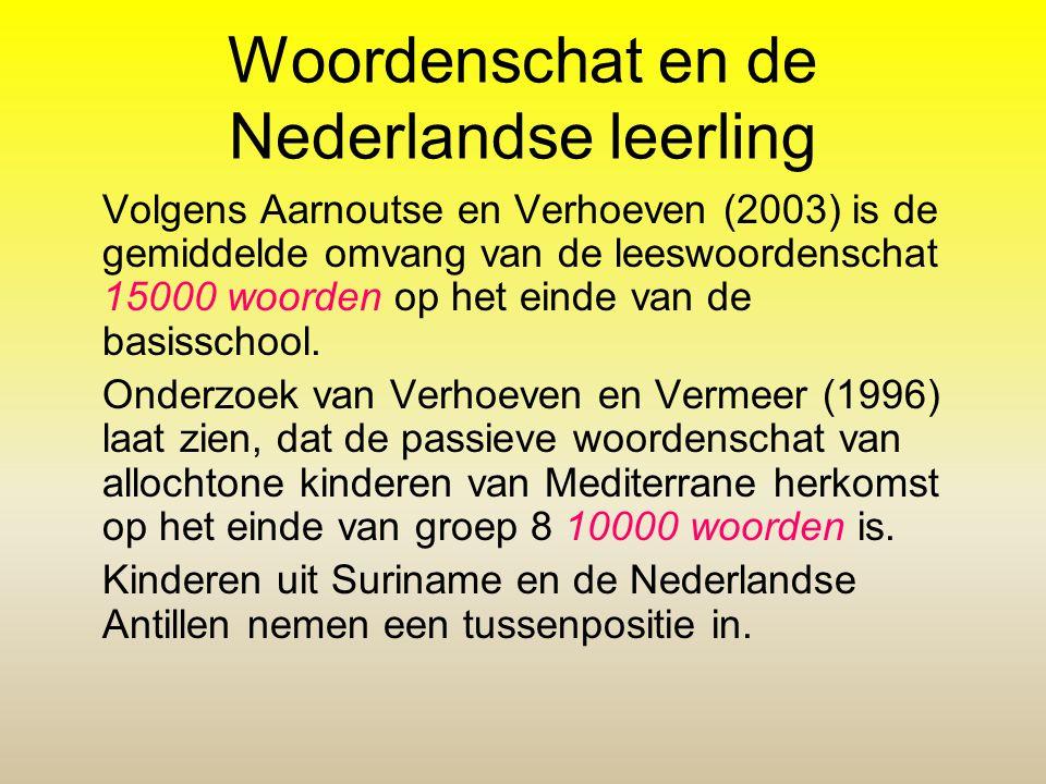 Woordenschat en de Nederlandse leerling Volgens Aarnoutse en Verhoeven (2003) is de gemiddelde omvang van de leeswoordenschat 15000 woorden op het ein
