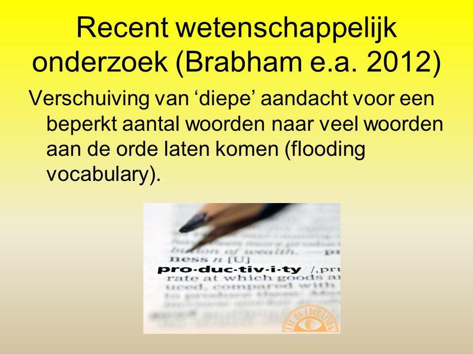 Recent wetenschappelijk onderzoek (Brabham e.a. 2012) Verschuiving van 'diepe' aandacht voor een beperkt aantal woorden naar veel woorden aan de orde