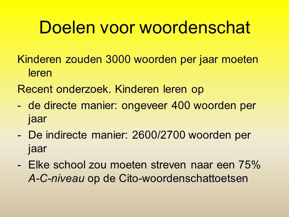 Doelen voor woordenschat Kinderen zouden 3000 woorden per jaar moeten leren Recent onderzoek. Kinderen leren op -de directe manier: ongeveer 400 woord