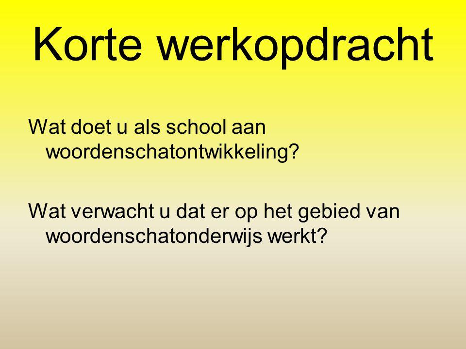 Korte werkopdracht Wat doet u als school aan woordenschatontwikkeling? Wat verwacht u dat er op het gebied van woordenschatonderwijs werkt?