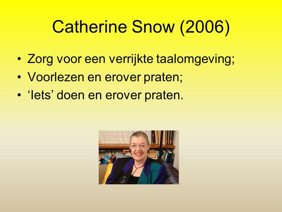 Catherine Snow (2006) •Zorg voor een verrijkte taalomgeving; •Voorlezen en erover praten; •'Iets' doen en erover praten.