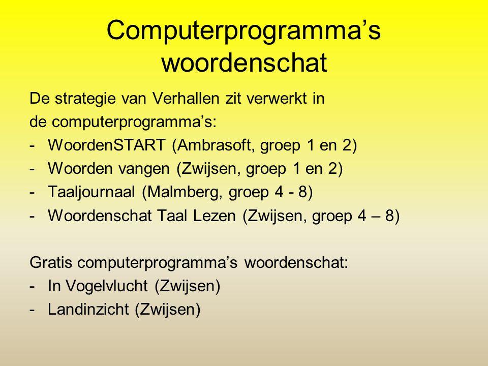 Computerprogramma's woordenschat De strategie van Verhallen zit verwerkt in de computerprogramma's: -WoordenSTART (Ambrasoft, groep 1 en 2) -Woorden v