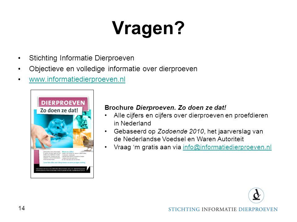 Vragen? •Stichting Informatie Dierproeven •Objectieve en volledige informatie over dierproeven •www.informatiedierproeven.nlwww.informatiedierproeven.