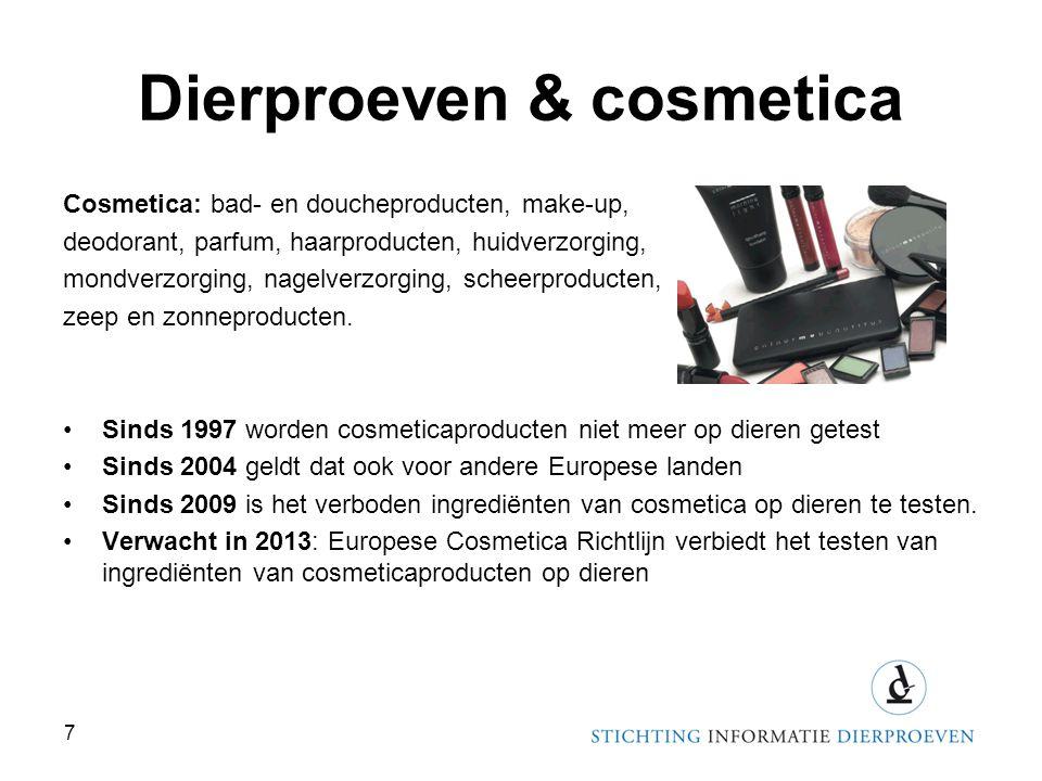 Dierproeven & cosmetica Cosmetica: bad- en doucheproducten, make-up, deodorant, parfum, haarproducten, huidverzorging, mondverzorging, nagelverzorging