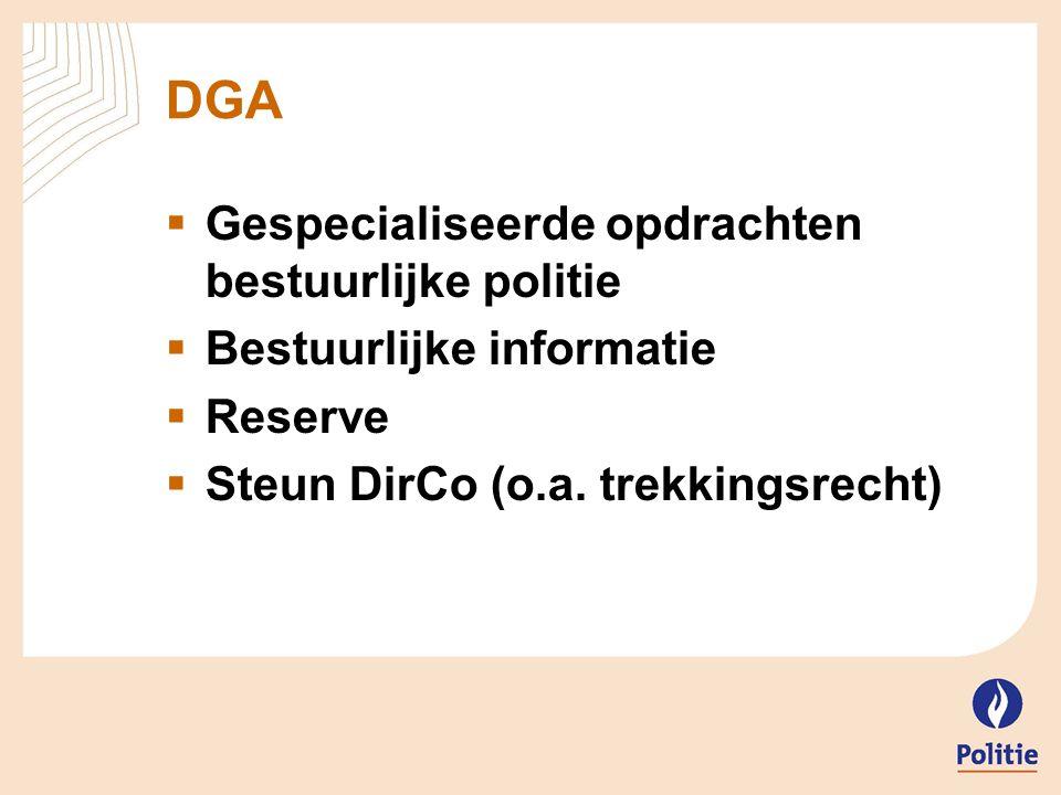 DGA  Gespecialiseerde opdrachten bestuurlijke politie  Bestuurlijke informatie  Reserve  Steun DirCo (o.a. trekkingsrecht)