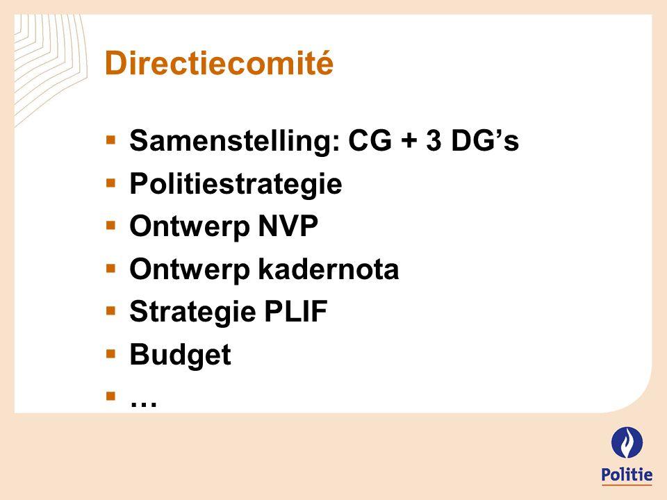 Coördinatiecomité  DirCom + VCLP  Verstrekken van aanbevelingen  Gemotiveerde adviezen over  Politiestrategie  PLIF