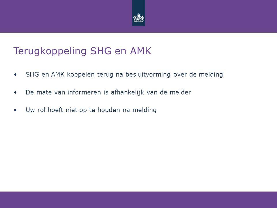 Terugkoppeling SHG en AMK • SHG en AMK koppelen terug na besluitvorming over de melding • De mate van informeren is afhankelijk van de melder • Uw rol