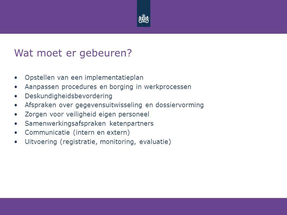 Wat moet er gebeuren? •Opstellen van een implementatieplan •Aanpassen procedures en borging in werkprocessen •Deskundigheidsbevordering •Afspraken ove
