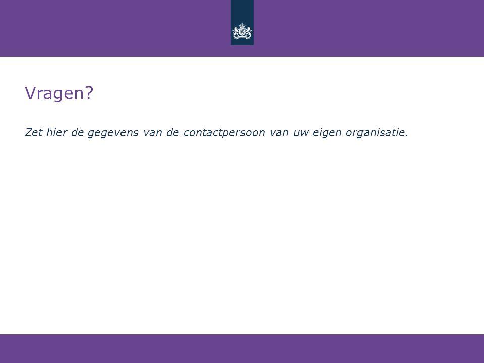Vragen ? Zet hier de gegevens van de contactpersoon van uw eigen organisatie.