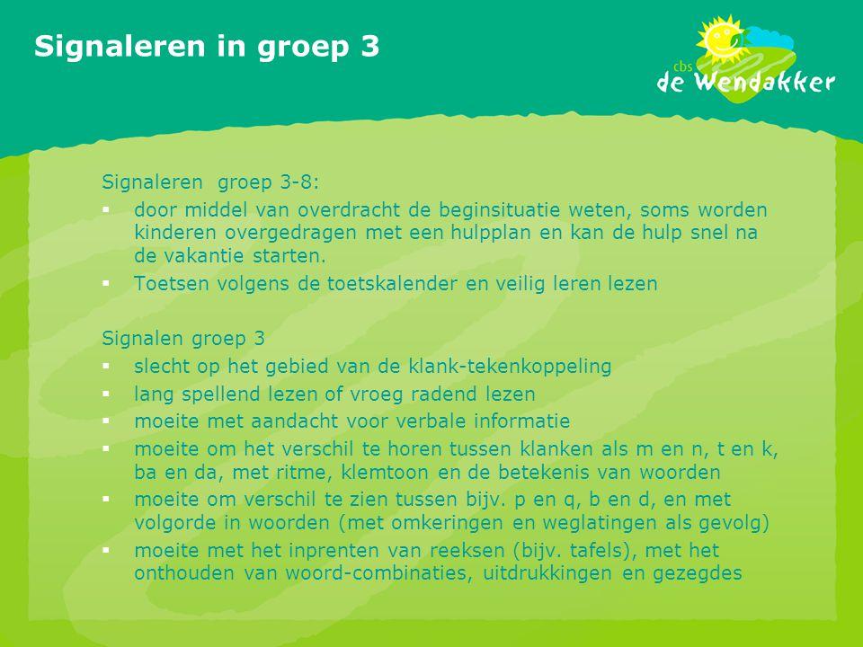 Signaleren in groep 3 Signaleren groep 3-8:  door middel van overdracht de beginsituatie weten, soms worden kinderen overgedragen met een hulpplan en