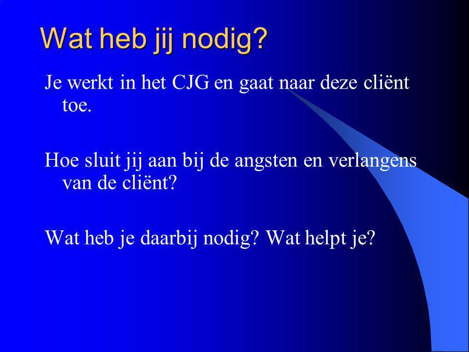 Wat heb jij nodig? Je werkt in het CJG en gaat naar deze cliënt toe. Hoe sluit jij aan bij de angsten en verlangens van de cliënt? Wat heb je daarbij
