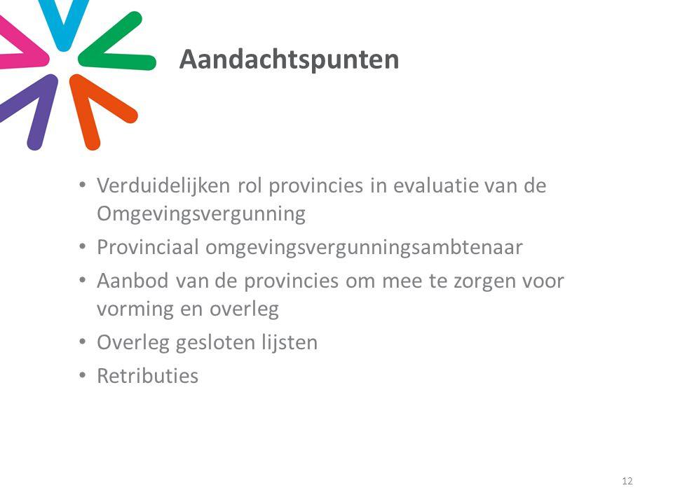 Aandachtspunten • Verduidelijken rol provincies in evaluatie van de Omgevingsvergunning • Provinciaal omgevingsvergunningsambtenaar • Aanbod van de pr