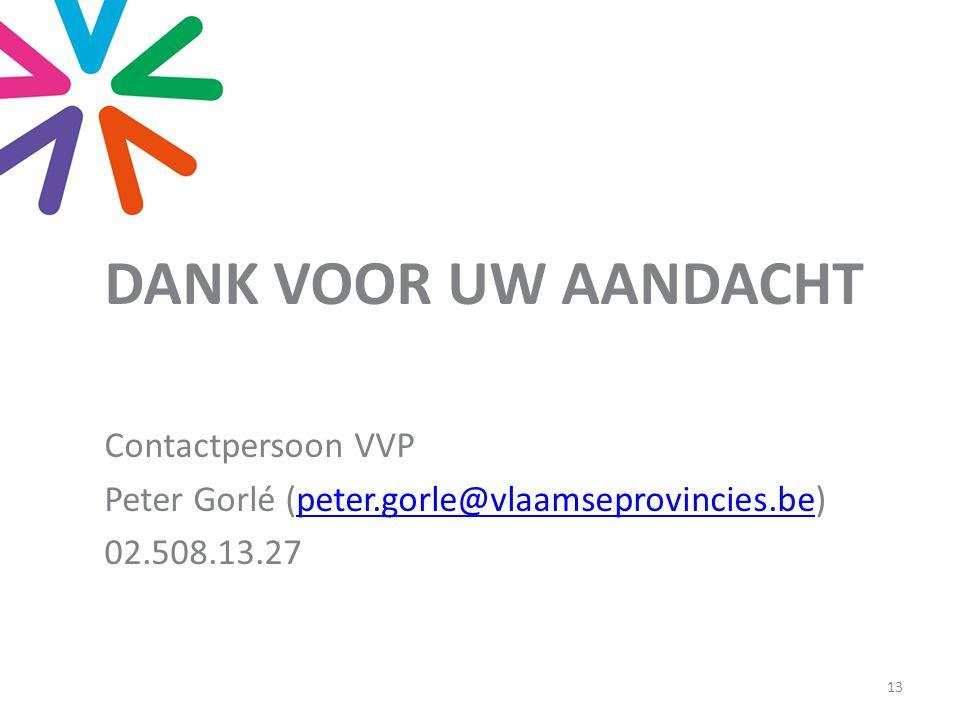 DANK VOOR UW AANDACHT Contactpersoon VVP Peter Gorlé (peter.gorle@vlaamseprovincies.be)peter.gorle@vlaamseprovincies.be 02.508.13.27 13