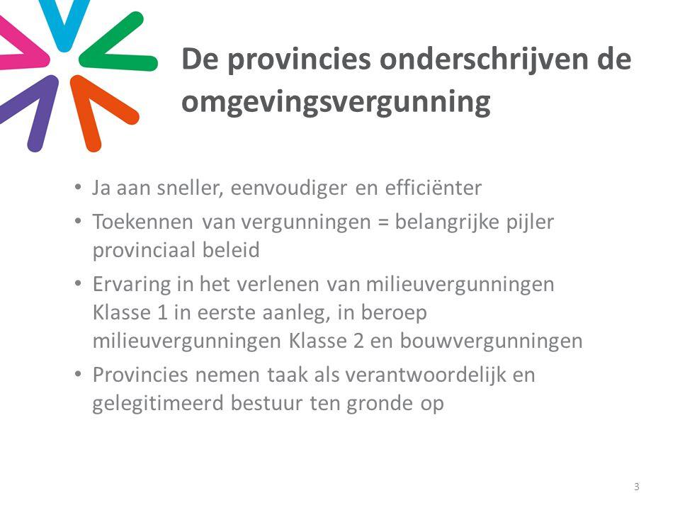 De provincies onderschrijven de omgevingsvergunning • Ja aan sneller, eenvoudiger en efficiënter • Toekennen van vergunningen = belangrijke pijler pro