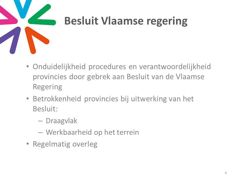 Besluit Vlaamse regering • Onduidelijkheid procedures en verantwoordelijkheid provincies door gebrek aan Besluit van de Vlaamse Regering • Betrokkenhe