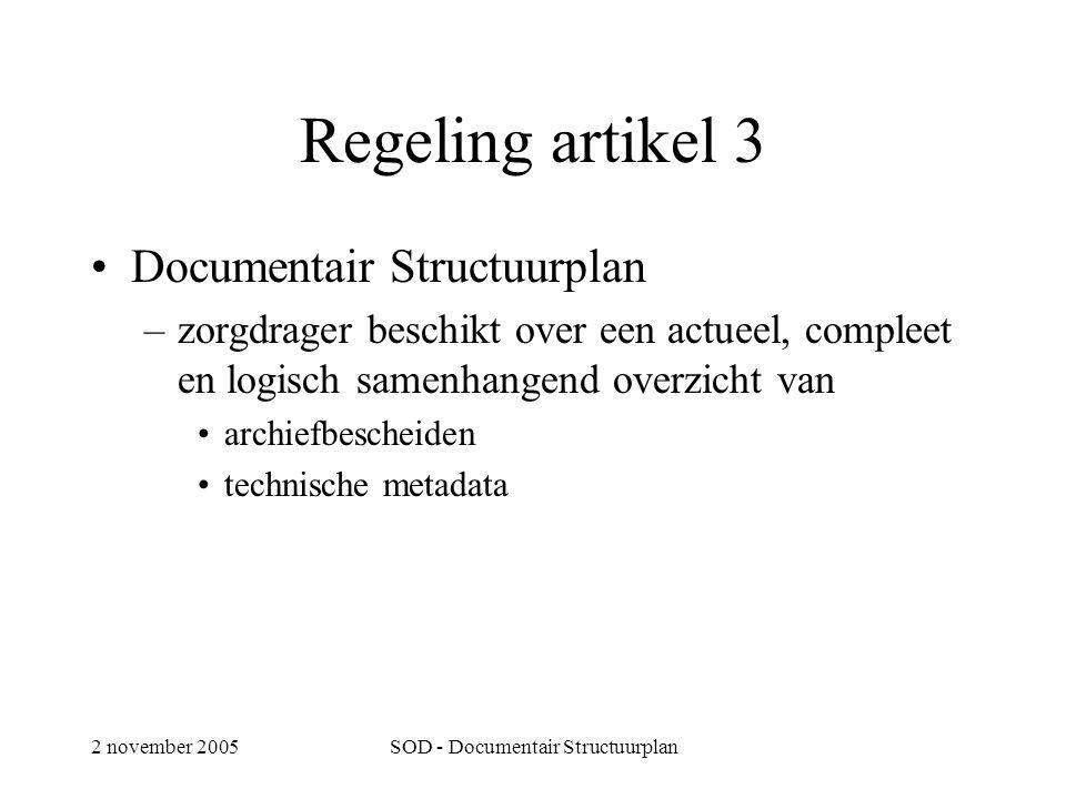 2 november 2005SOD - Documentair Structuurplan Regeling artikel 3 •Documentair Structuurplan –zorgdrager beschikt over een actueel, compleet en logisch samenhangend overzicht van •archiefbescheiden •technische metadata