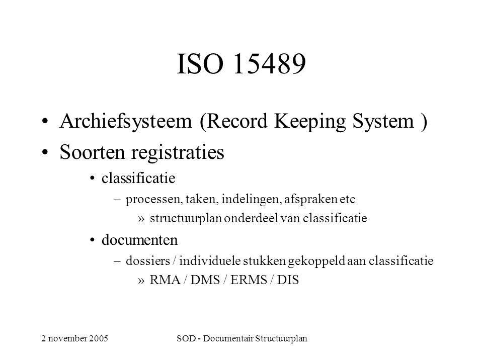 2 november 2005SOD - Documentair Structuurplan ISO 15489 •Archiefsysteem (Record Keeping System ) •Soorten registraties •classificatie –processen, taken, indelingen, afspraken etc »structuurplan onderdeel van classificatie •documenten –dossiers / individuele stukken gekoppeld aan classificatie »RMA / DMS / ERMS / DIS