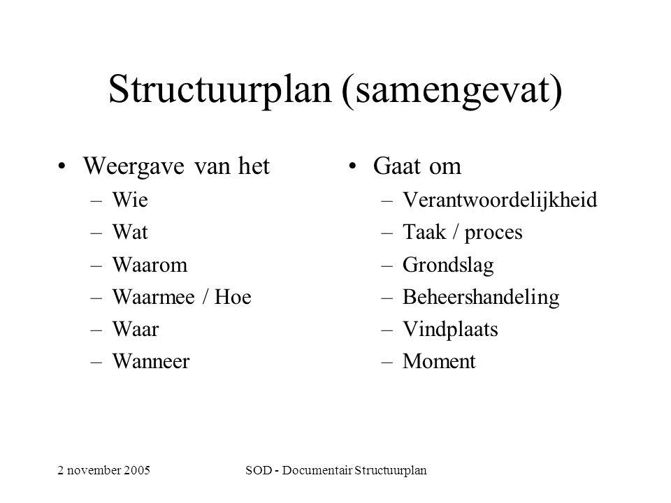 2 november 2005SOD - Documentair Structuurplan Structuurplan (samengevat) •Weergave van het –Wie –Wat –Waarom –Waarmee / Hoe –Waar –Wanneer •Gaat om –Verantwoordelijkheid –Taak / proces –Grondslag –Beheershandeling –Vindplaats –Moment