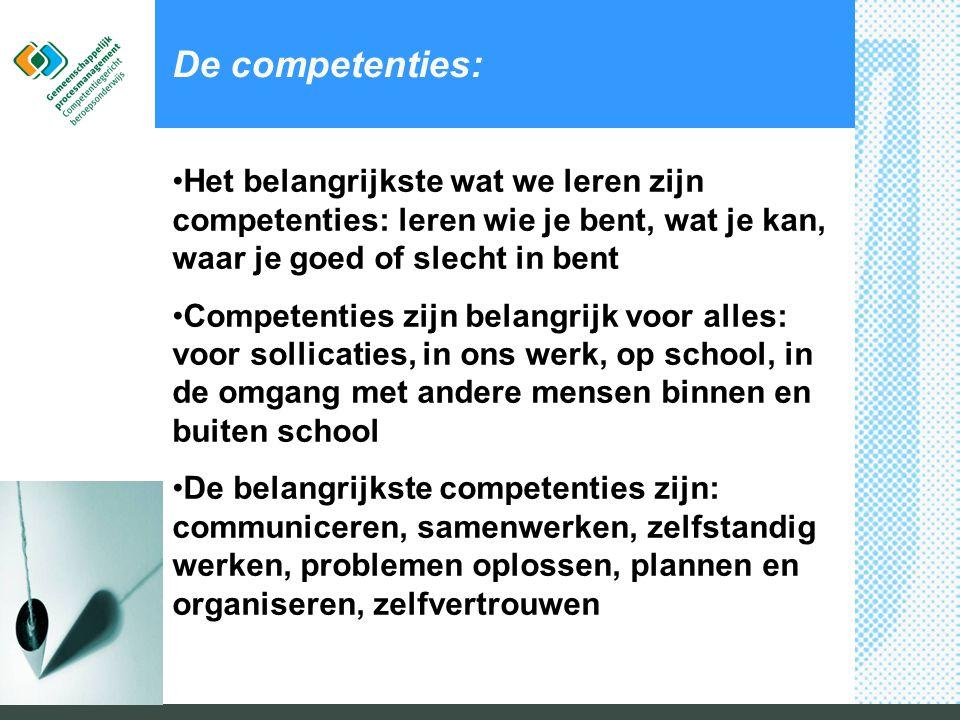 De competenties: •Het belangrijkste wat we leren zijn competenties: leren wie je bent, wat je kan, waar je goed of slecht in bent •Competenties zijn b