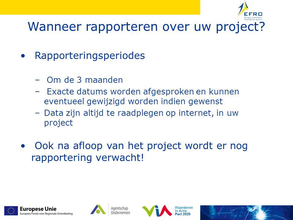 Wat rapporteren over uw project.