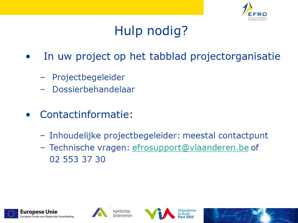 Project in uitvoering: projectorganisatie
