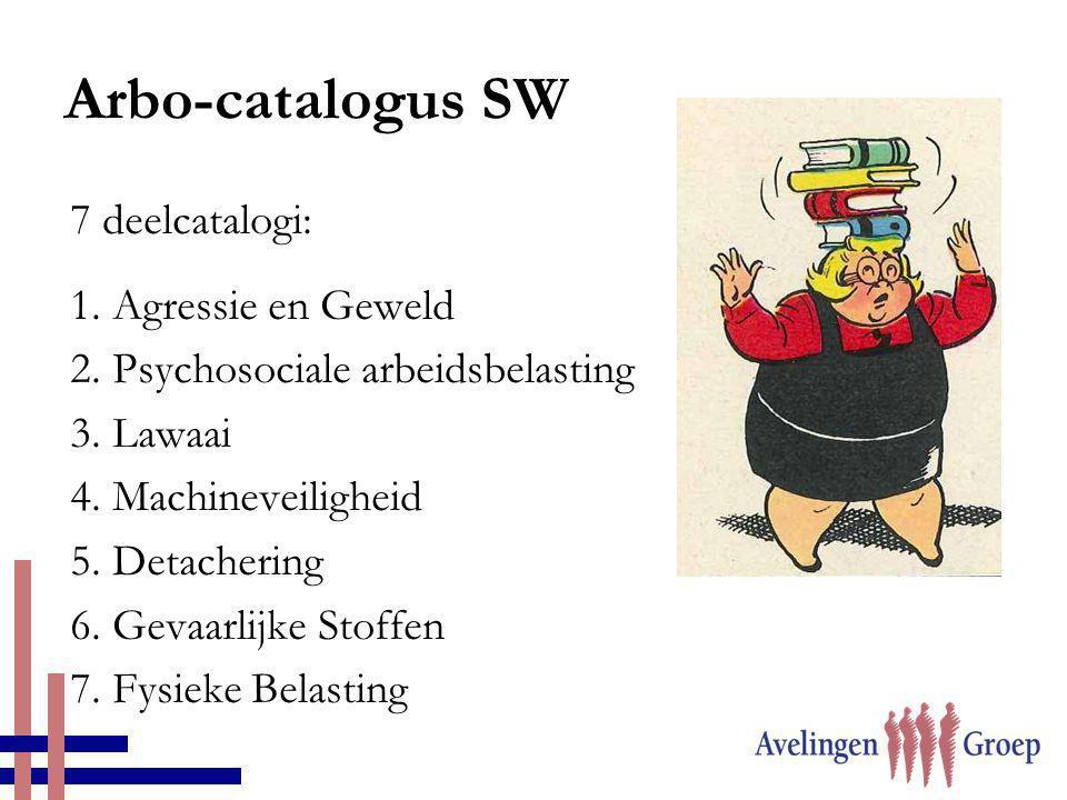 7 deelcatalogi: 1. Agressie en Geweld 2. Psychosociale arbeidsbelasting 3. Lawaai 4. Machineveiligheid 5. Detachering 6. Gevaarlijke Stoffen 7. Fysiek