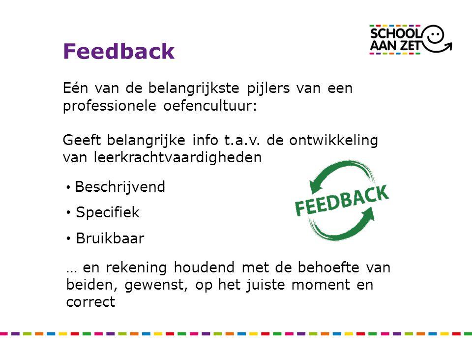 Feedback Eén van de belangrijkste pijlers van een professionele oefencultuur: Geeft belangrijke info t.a.v. de ontwikkeling van leerkrachtvaardigheden