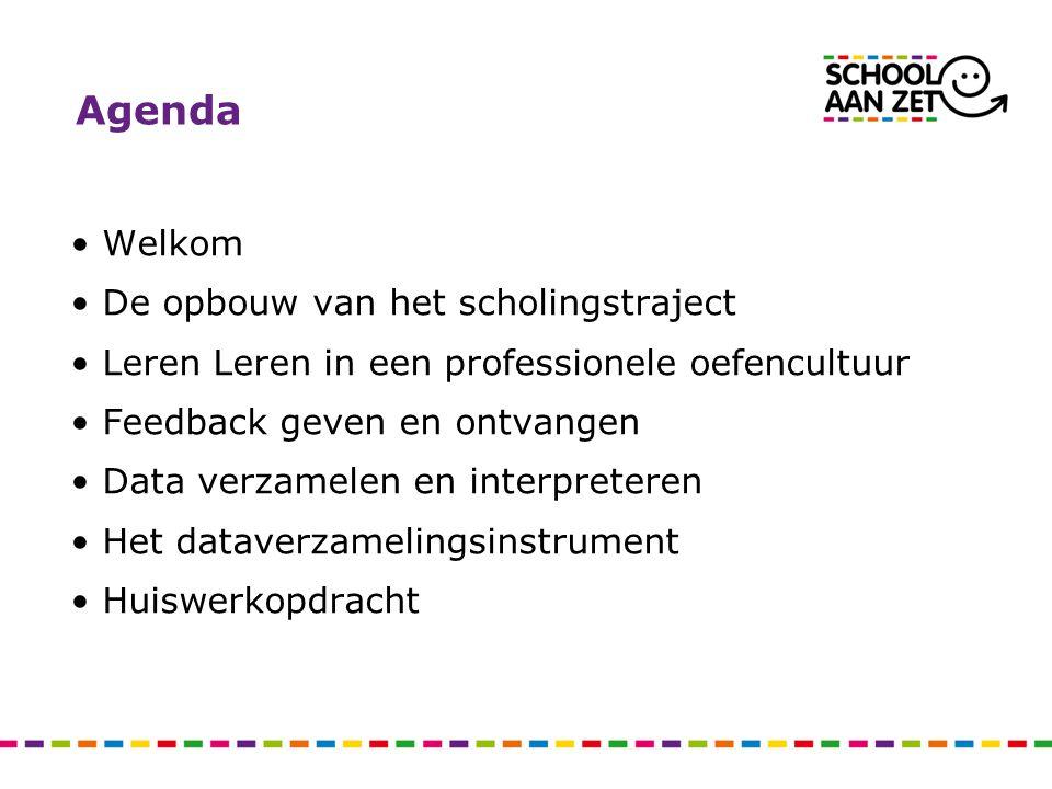 Agenda •Welkom •De opbouw van het scholingstraject •Leren Leren in een professionele oefencultuur •Feedback geven en ontvangen •Data verzamelen en int