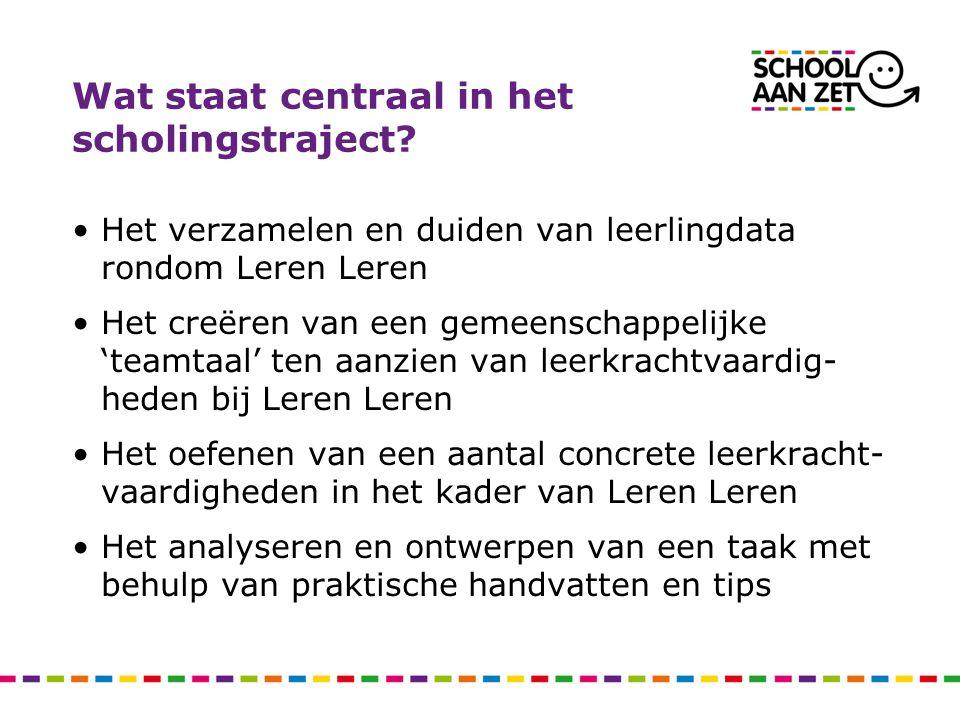 Wat staat centraal in het scholingstraject? •Het verzamelen en duiden van leerlingdata rondom Leren Leren •Het creëren van een gemeenschappelijke 'tea
