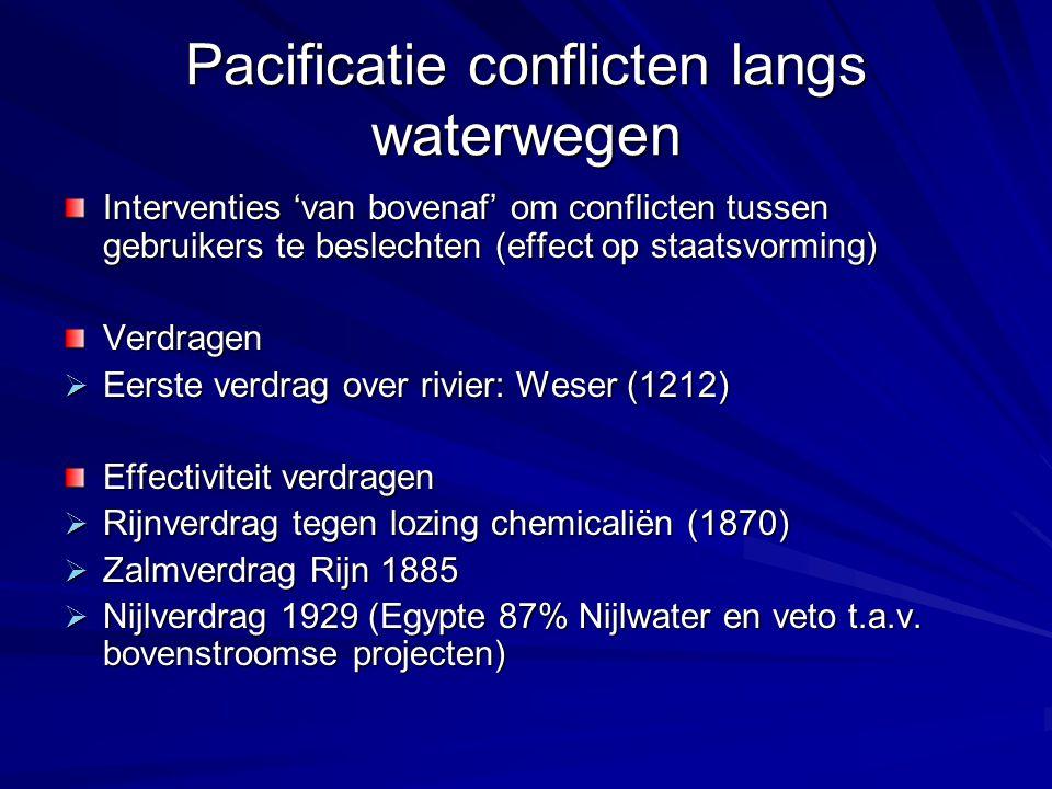 Pacificatie conflicten langs waterwegen Interventies 'van bovenaf' om conflicten tussen gebruikers te beslechten (effect op staatsvorming) Verdragen 