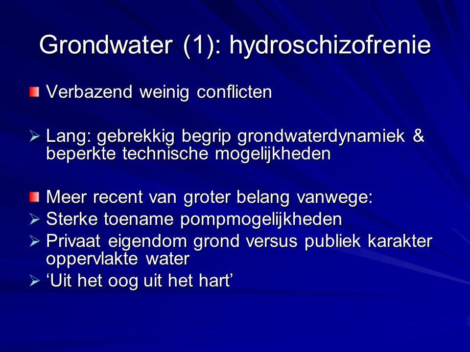 Grondwater (1): hydroschizofrenie Verbazend weinig conflicten  Lang: gebrekkig begrip grondwaterdynamiek & beperkte technische mogelijkheden Meer rec