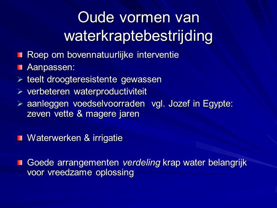 Oude vormen van waterkraptebestrijding Roep om bovennatuurlijke interventie Aanpassen:  teelt droogteresistente gewassen  verbeteren waterproductivi